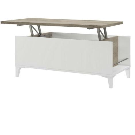 Table basse avec plateau relevable - Décor chene et blanc - L 100 x P 50/72 x H 42/55 cm