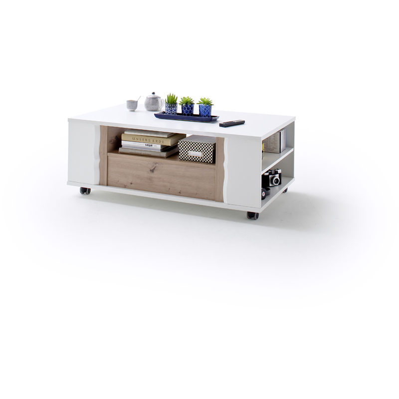Table Basse Blanche Avec Tiroir.Table Basse Avec Tiroir Coloris Laque Blanc L115 X H45 X P70 Cm Pegane