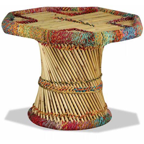 Table basse Bambou avec Details Chindi Multicolore