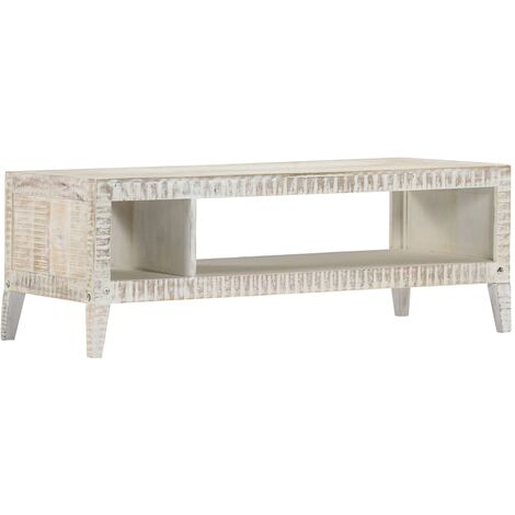 Table basse Blanc 110x50x40 cm Bois de manguier massif