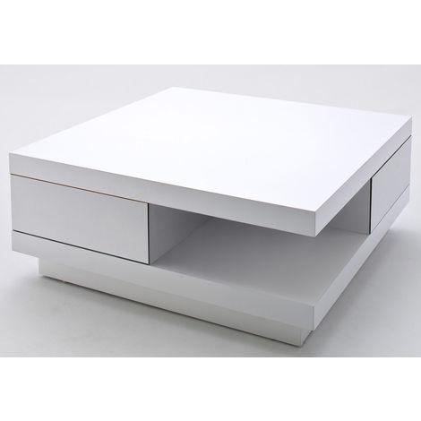 Table Basse Blanche Avec Tiroir.Table Basse Blanc Laque Brillant Avec 2 Tiroirs L85 X H30 X P85 Cm Pegane