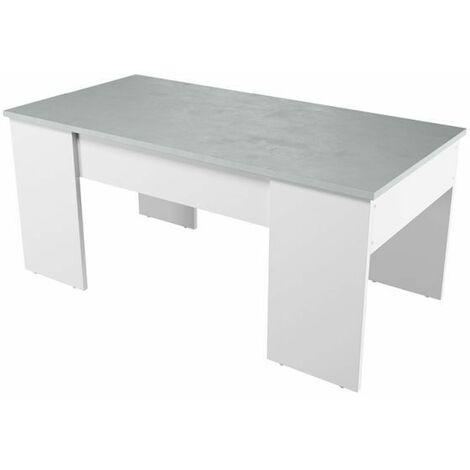 Table Basse Blanche avec Plateau Relevable Effet Béton