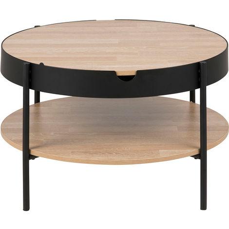Table Basse Bois Noir.Table Basse Bois Et Metal Noir 75 Cm Suzie