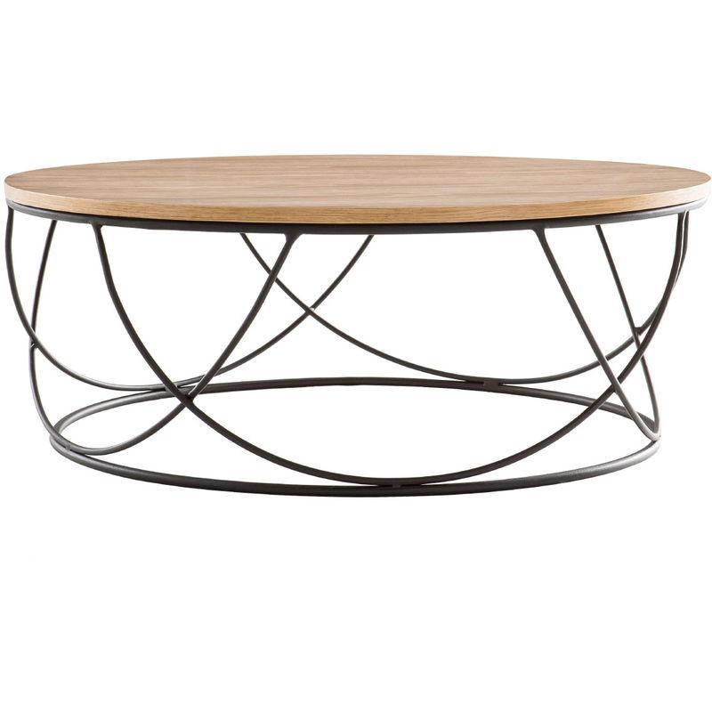 Table Basse Bois Noir.Table Basse Bois Et Metal Noir Ronde 80 Cm Lace