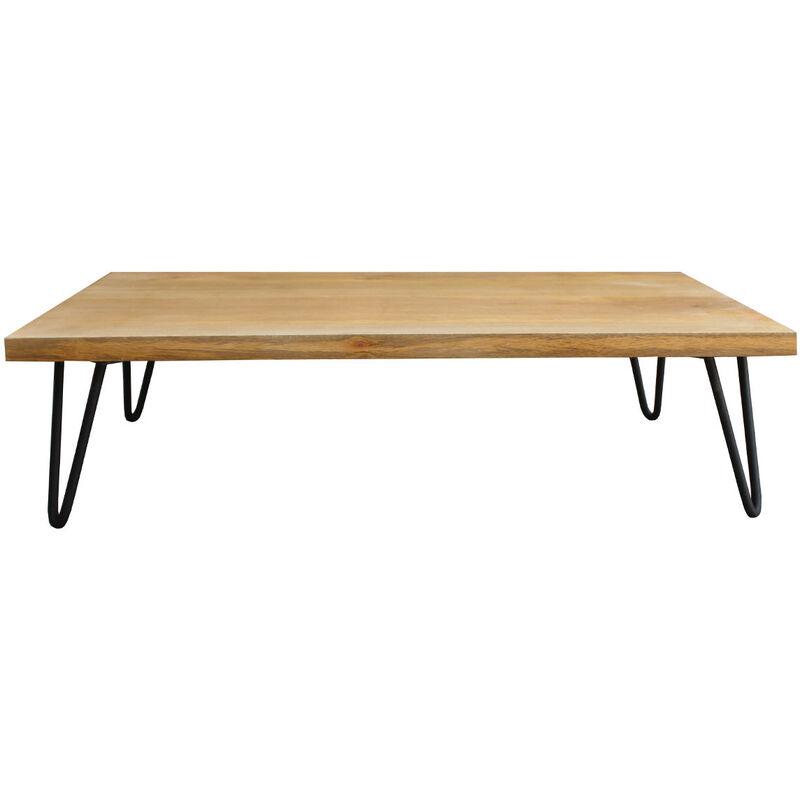 Table Basse Bois Pied Metal.Table Basse Bois Manguier Pieds Epingle Metal Vibes