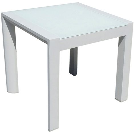 Table Basse Blanche Verre.Table Basse Carree Alu Blanc Plateau Verre Blanc Leda