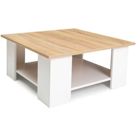 Table basse carrée ELI blanche plateau façon hêtre