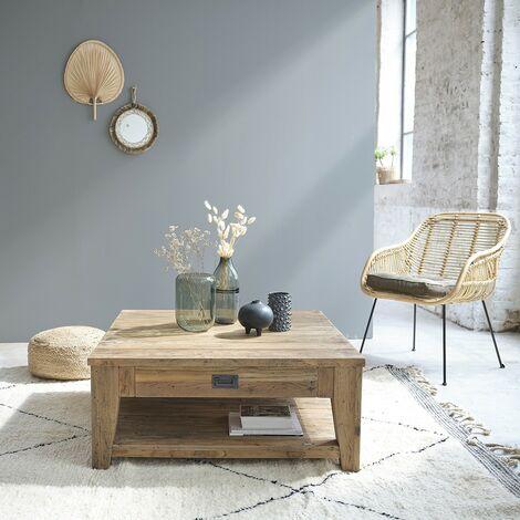 Table basse carrée en bois de teck recyclé double plateau 100 - Naturel
