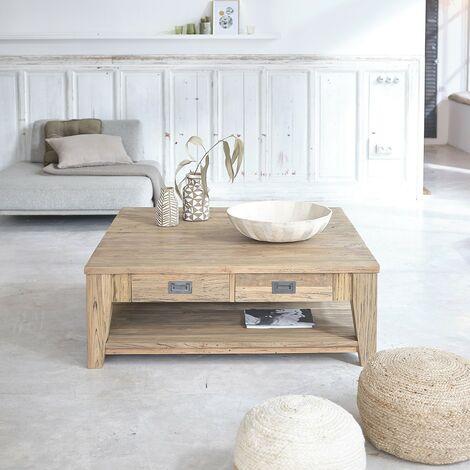 Table basse carrée en bois de teck recyclé double plateau 120 - Naturel