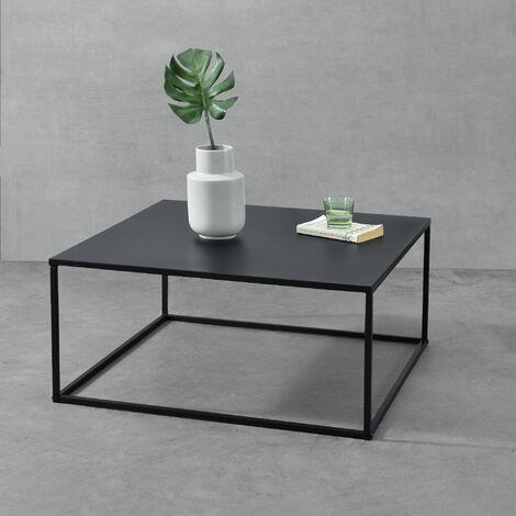 """main image of """"Table Basse Carrée Stylée pour Salon en Métal Surface Anti-Éraillures 38 x 85 x 85 cm Noir Mat"""""""