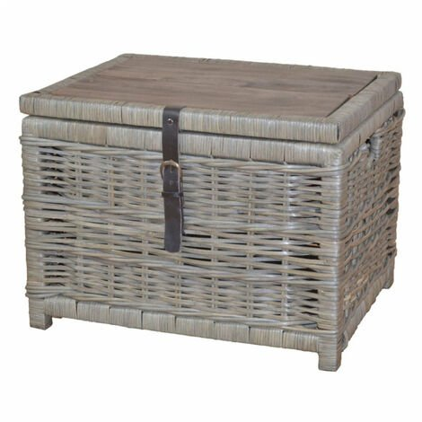 Table basse / coffre de rangement en bois et rotin kubu gris - gris