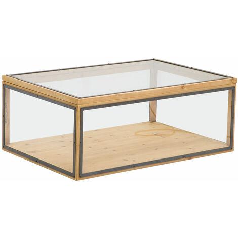 Table basse coffre vitré plateau relevable