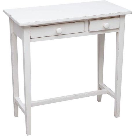 Table basse console de salon style rustique en tilleul massif avec finition antique blanche L73xPR36xH75 cm