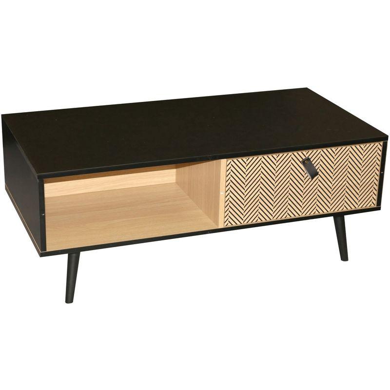 Table basse contemporaine effet bois Chelsea - L. 100 x H. 40 cm - Noir - Noir