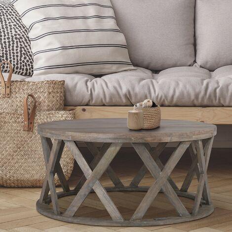 Table basse d'appoint canapé salon bois massif Athens 75 x 35 cm WOMO-DESIGN®