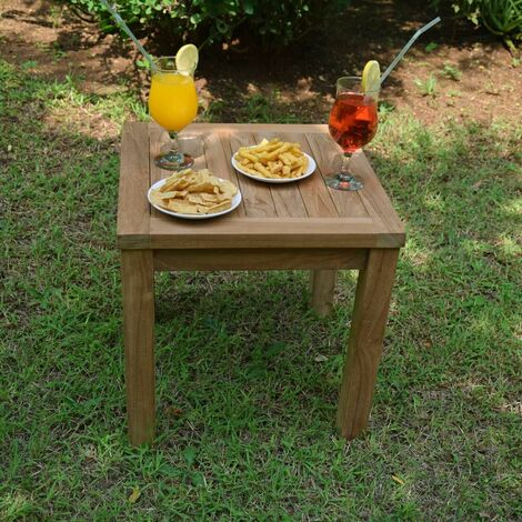 Table basse d\'appoint carrée en teck Ecograde Coffee 45 x 45 cm ...