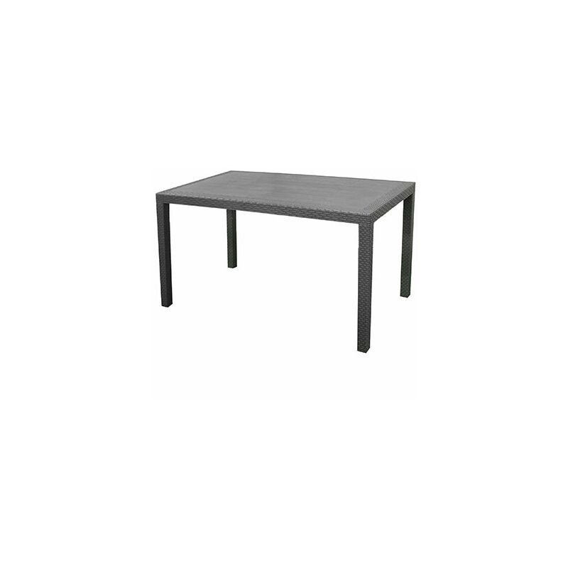 Table basse de jardin 138x78x72 cm en plastique effet rotin anthracite