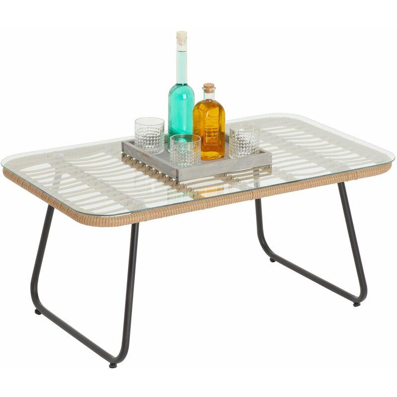 Table basse de jardin BOREAL table d'appoint d'extérieur avec plateau rectangulaire en verre et imitation rotin, piètement en acier