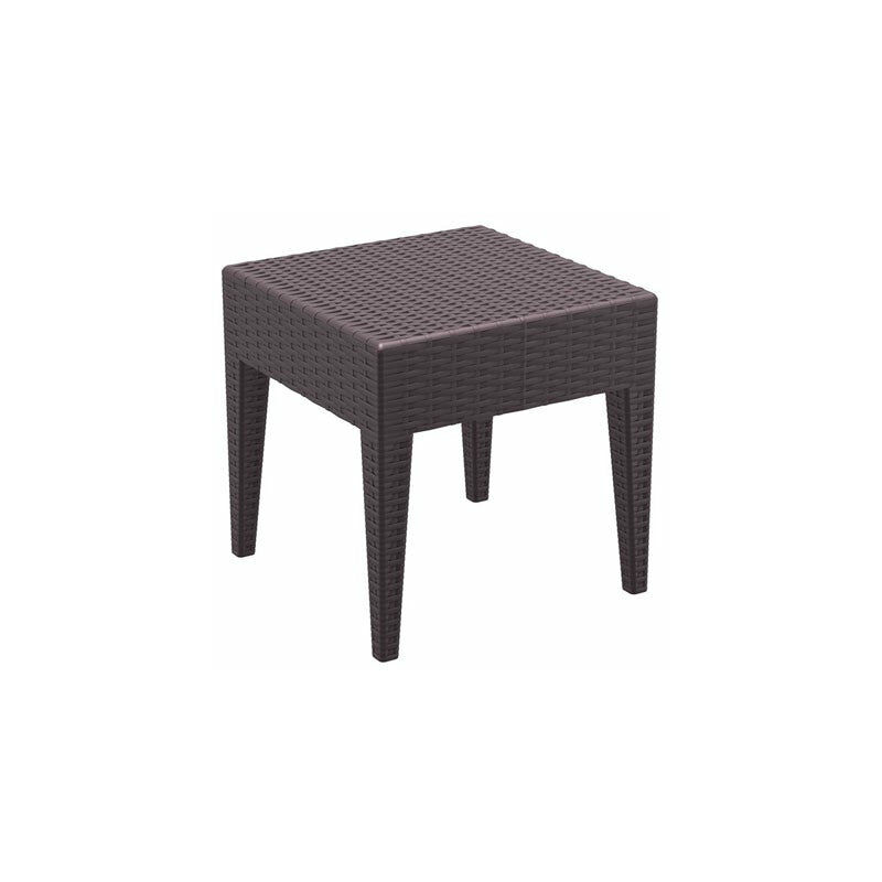 Table basse de jardin carré étanche en plastique marron 45x45x45 cm - marron