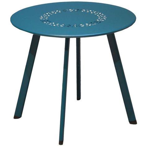 Table basse de jardin en métal Massai 45 cm - Bleu