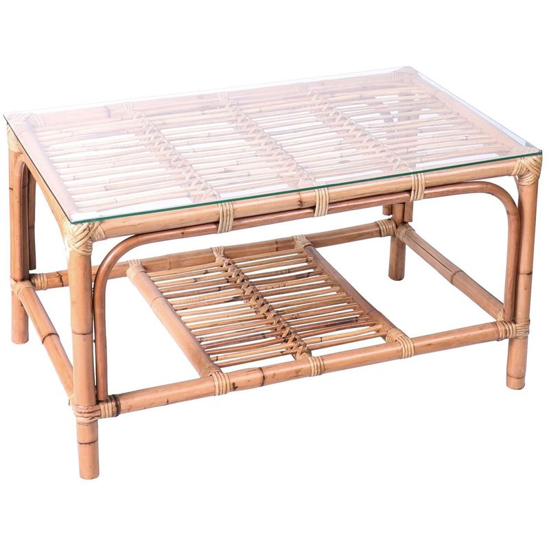 Table basse de jardin en rotin Ella - L. 81 x H. 44 cm - Marron - Marron