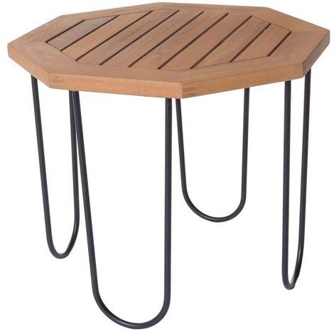 Table Hexagonale Salma Acacia Exterieur 50 X 50 X 40 Cm