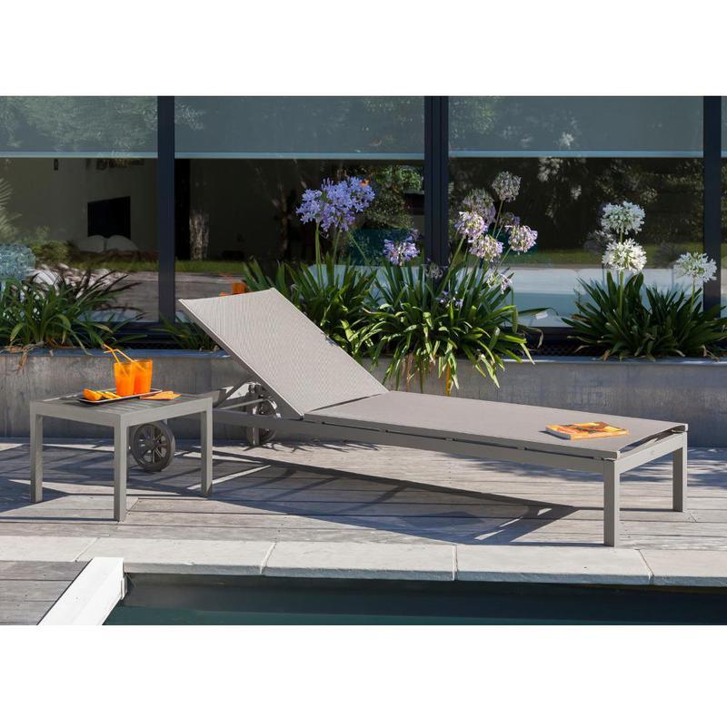 Table basse de jardin LOU en aluminium couleur taupe - Proloisirs