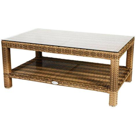 Table basse de jardin résine tressée - L. 102 cm - Marron naturae