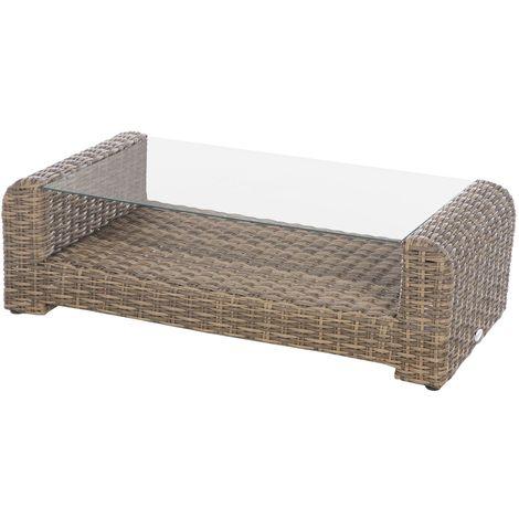 "main image of ""Table basse de jardin résine tressée Moorea - 121 x 62 x 36 - Marron"""