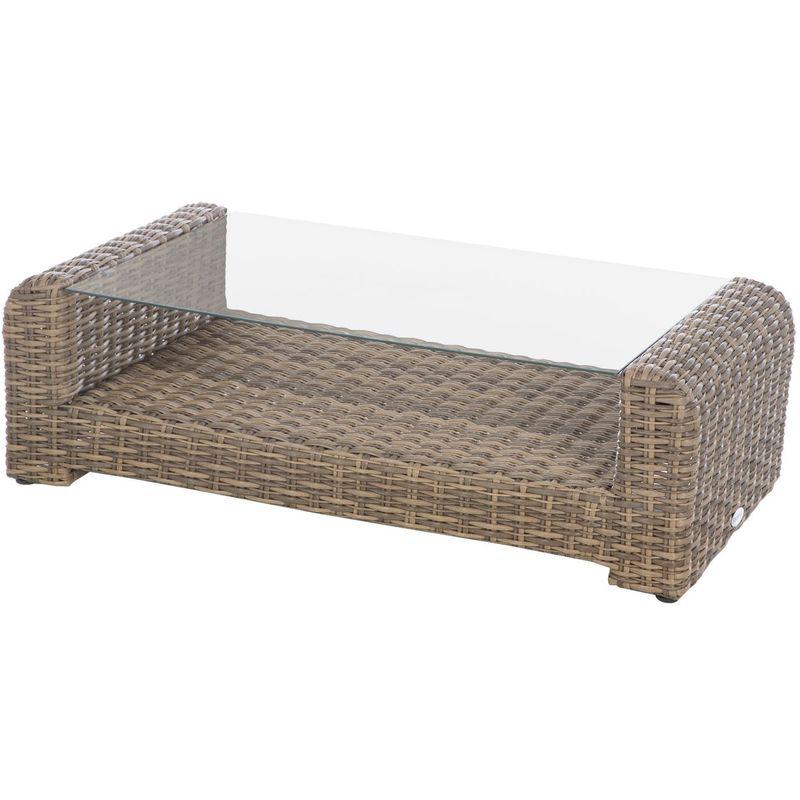 Table basse de jardin résine tressée Moorea - 121 x 62 x 36 - Marron