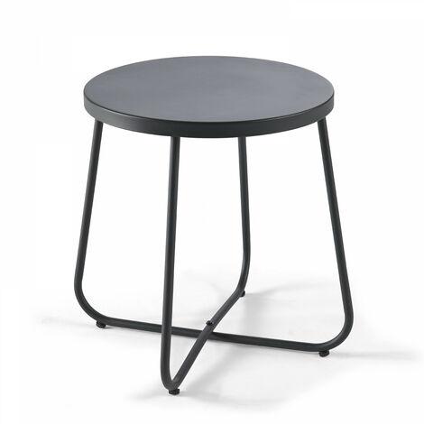 Table basse de jardin ronde Ø43cm acier thermolaqué Lagoon - Noir - Noir