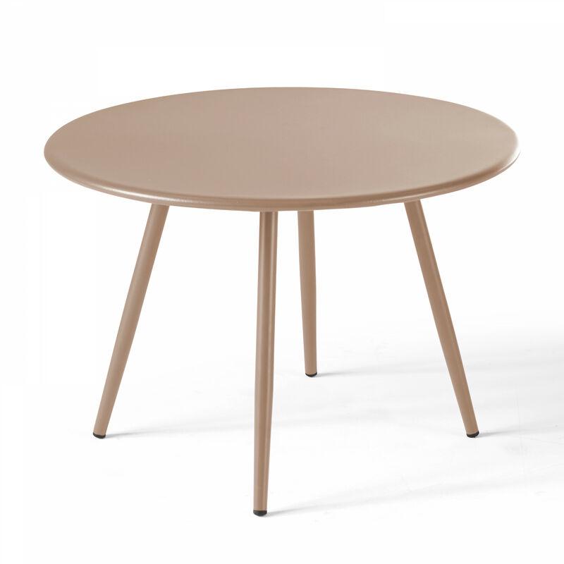 Table basse de jardin ronde Ø50cm acier thermolaqué Palavas - Taupe - Taupe