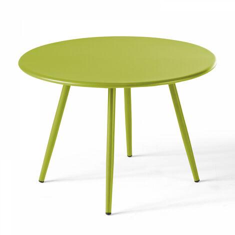 Table basse de jardin ronde Ø50cm acier thermolaqué