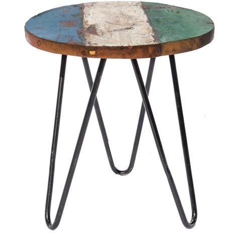 Table basse de jardin ronde teck et fer - Calypso - Marron - 83982