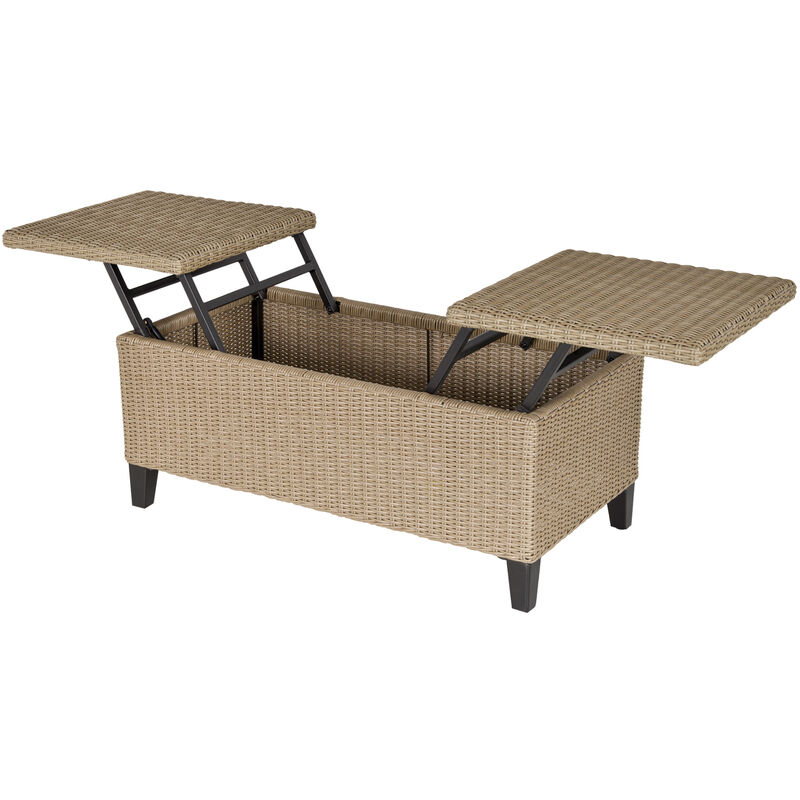 Table basse de jardin style cosy chic - table basse relevable - métal époxy résine tressée imitation rotin beige