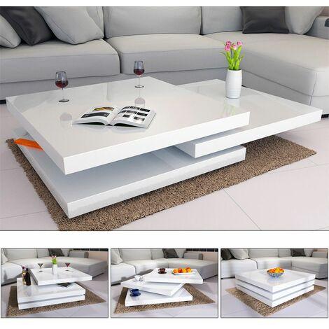 Table Basse de Salon 76x76cm ou 60x60cm carré Moderne Blanc ou Noir rotative 360° Brillante et laquée Charge Max. 20 kg Design innovant Table intérieur