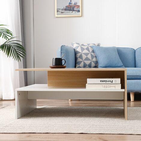 Table Basse de Salon en Bois avec rangement pour salon 90 * 42 * 60 cm - Couleur du bois-blanc