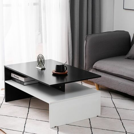 Table Basse de Salon en Bois avec rangement pour salon 90 * 42 * 60 cm - Noir-blanc