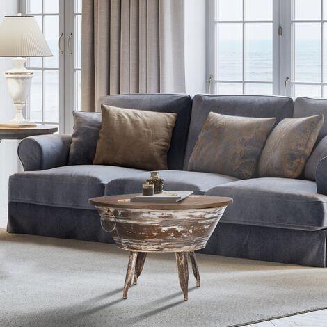 Table basse de salon en bois manguier massif aspect antique Ø70 cm WOMO-DESIGN®