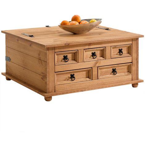 """main image of """"Table basse de salon TEQUILA coffre malle de rangement rectangulaire en bois style mexicain avec 5 tiroirs en pin massif teinté/ciré"""""""