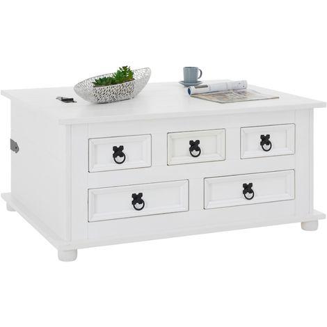 Table basse de salon TEQUILA coffre malle de rangement rectangulaire en bois style mexicain avec 5 tiroirs pin massif lasuré blanc