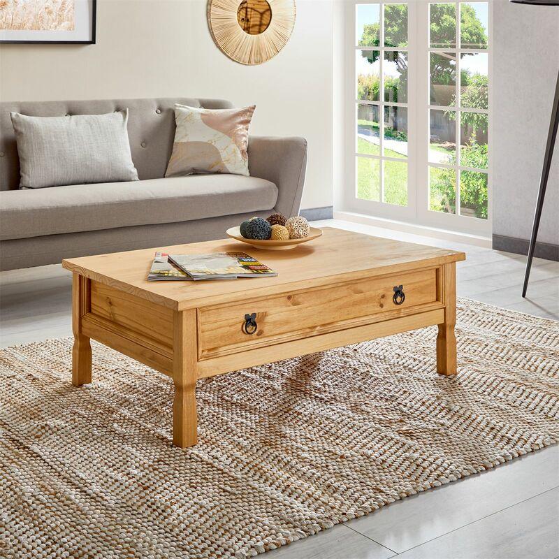 Table Basse De Salon Tequila Plateau Rectangulaire En Bois Style