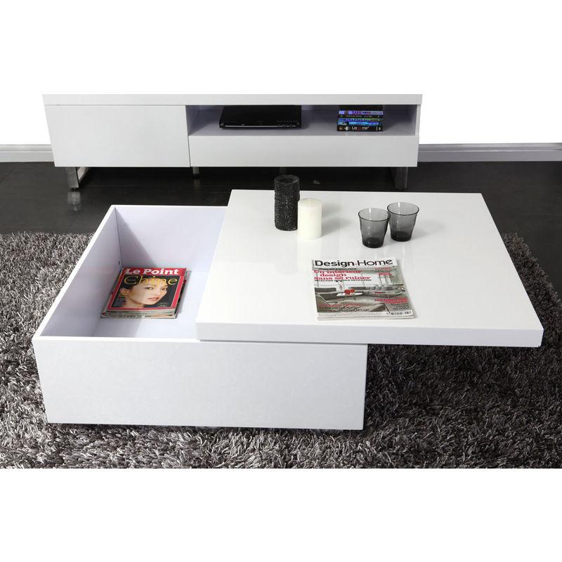 Table Basse Design Laquee Blanc Jana 23993