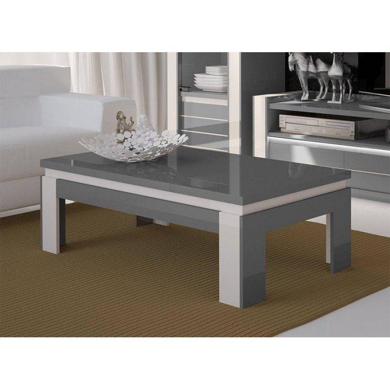 Table Basse Design Lina Grise Et Blanche Brillante Style Moderne