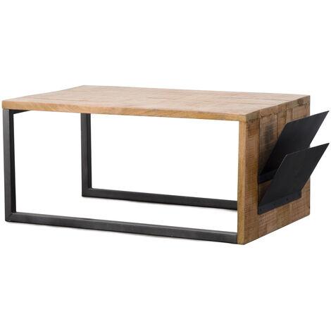 Table basse design mi-bois mi-métal range-revues