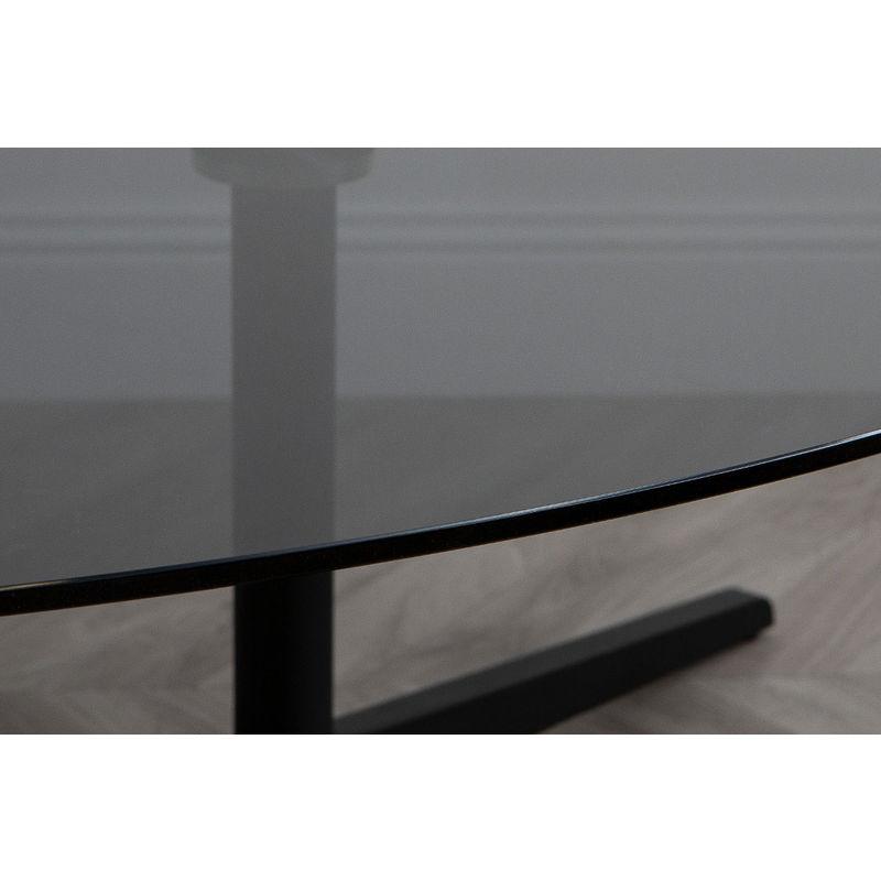 Fumé Verre Métal Table Et Galet Basse Design Noire Ovale En SzMqUpVG
