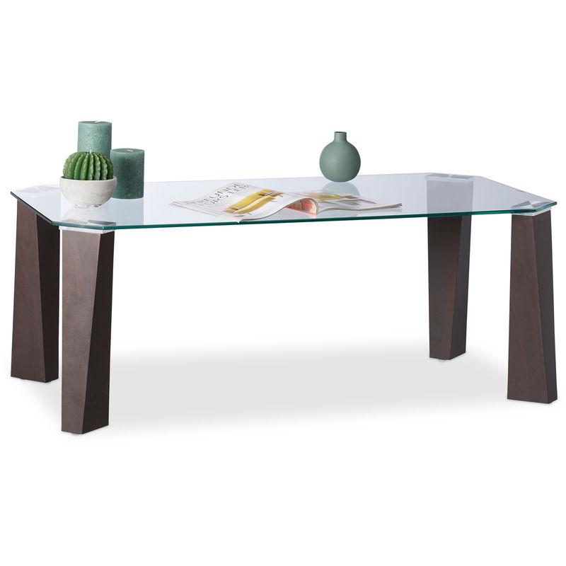 Table Basse Dessus De Table Verre Trempe Pieds Bois Elegants Design Moderne 110x60x40cm Transparent Brun