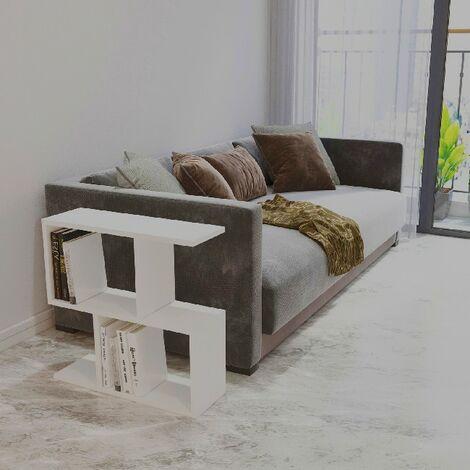 Table Basse Ecrin - Bas - avec etageres - Salon, canape - Blanc en Panneau d'agglomere melamine, 60 x 20 x 59,4 cm, -
