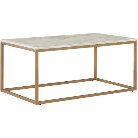 Table basse effet marbre blanc avec pieds dorés Delano