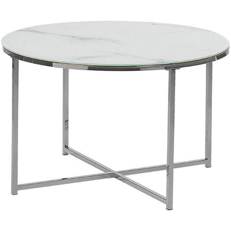 Table basse effet marbre blanc structure argentée QUINCY